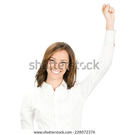 Happy gesturing young cheerful smiling business woman , isolated over white background - stock photo