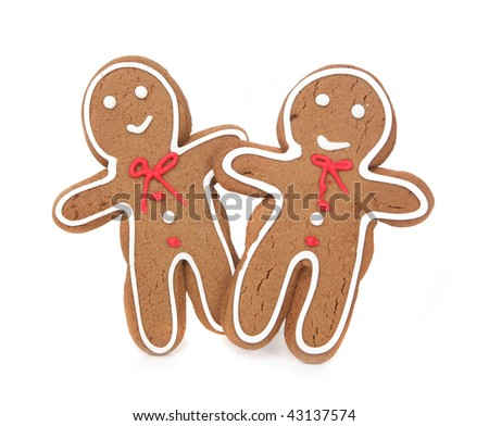 Happy Gingerbread Couple Holding Hands on White Background - stock photo