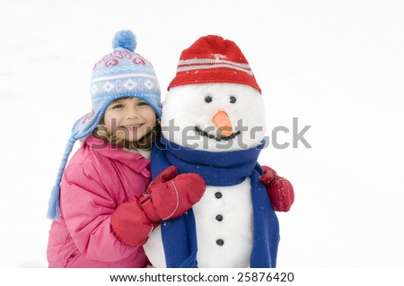 Happy girl and snowman - stock photo