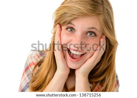 Happy girl expressing her joyful emotions - stock photo
