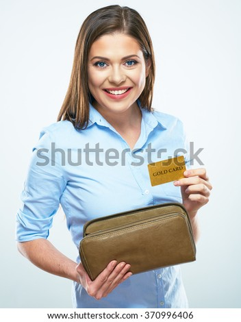 Happy girl gets credit card from a woman's wallet. White background isolated.