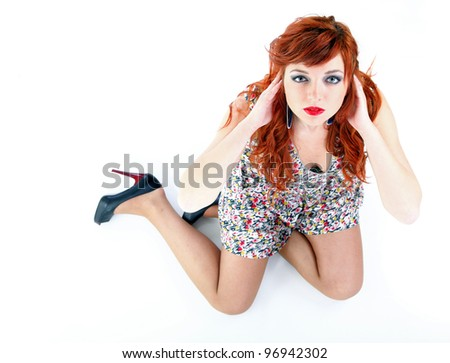 happy girl ginger with over white background - stock photo