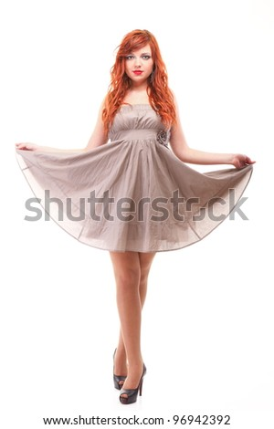 happy girl ginger with over white background