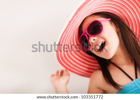 Happy girl going on vacations - isolated over a white backgorund - stock photo