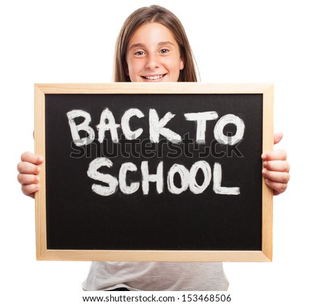 happy girl holding a chalkboard on a white background - stock photo