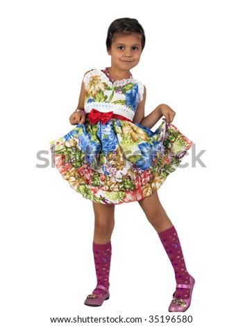Happy girl in beautiful dress. Isolate on white background. - stock photo