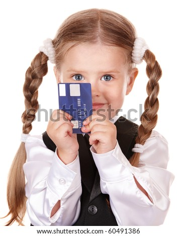 Happy girl  in business suit with credit card. Isolated.