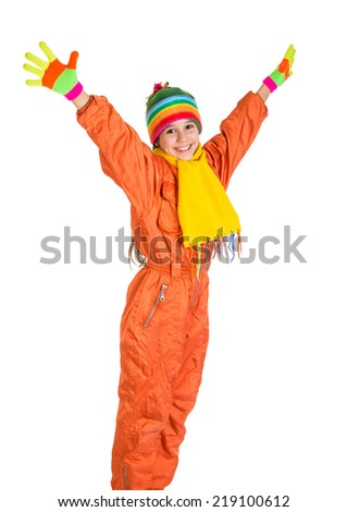 Happy girl in orange winter sports overalls, isolated on white - stock photo