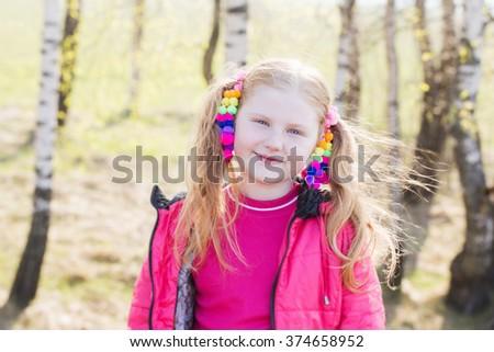 happy girl in spring outdoor - stock photo