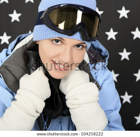 Happy girl  in the winter sportwear