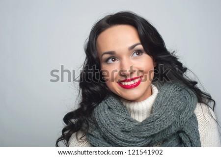 Happy girl in winter looks - stock photo