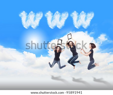 Happy Girl Jump and play touch pad computer in the air with blue sky and white cloud, , for cloud computing concept - stock photo