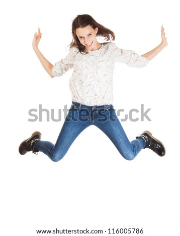 Happy girl jumping, isolated on white background