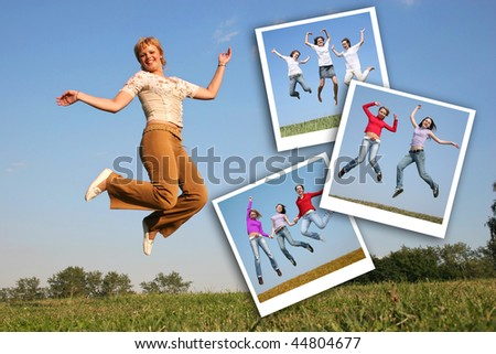 happy girl jumps on grass and photos of jumping girls, collage