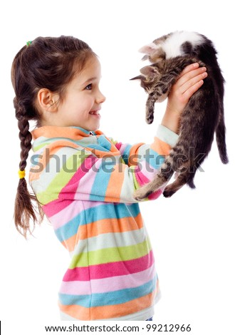 Happy girl lifted up two kittens, isolated on white - stock photo