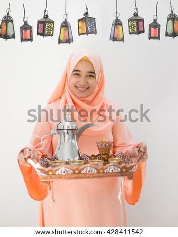 Happy girl ready for Ramadan