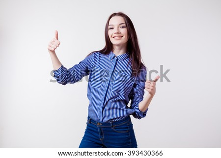 happy girl shows sign of good class - stock photo