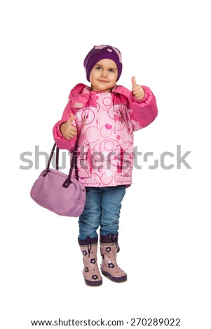 happy girl with a bag showing gesture. Isolation on a white background - stock photo