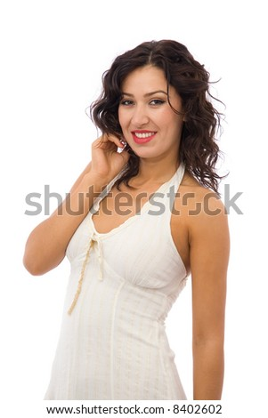 happy girl with a dress on white background