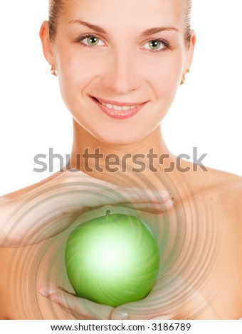 Happy girl with a magic apple - stock photo