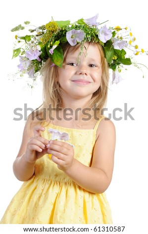 Happy girl with a wreath of flowers. Isolated on white background