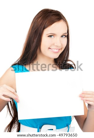 happy girl with blank board over white