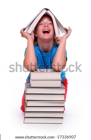 Happy girl with books. Back to school. - stock photo