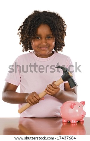 Happy girl with hammer and money box a over white background