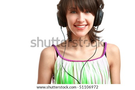 happy girl with headphones on, on white background - stock photo