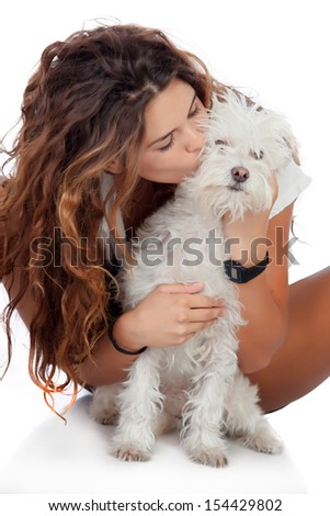 Happy girl with her dog isolated on a white background