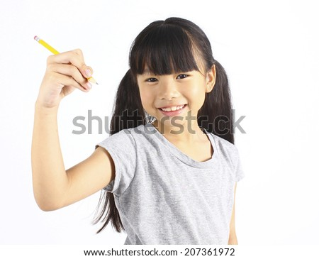 Happy girl with pencil - stock photo