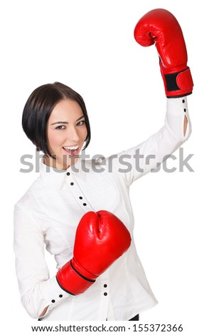 Happy girl with red boxer gloves, white background, copyspace - stock photo