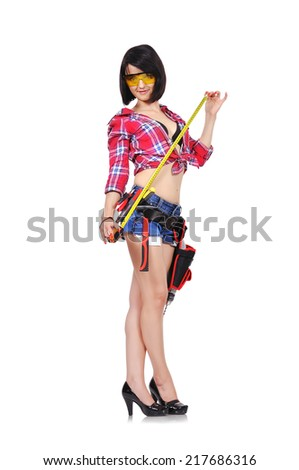 happy girl with tape measure on a white background - stock photo
