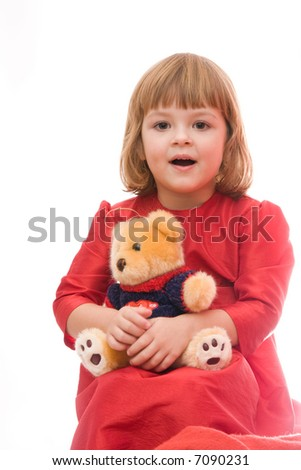 happy girl with teddy bear isolated on white