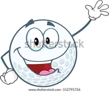 Happy Golf Ball Cartoon Character Waving For Greeting. Raster Illustration - stock photo
