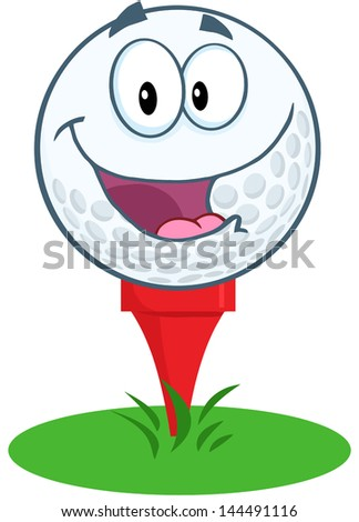 Happy Golf Ball Cartoon Mascot Character Over Tee. Vector version also available in gallery - stock photo