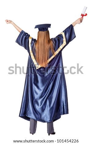 Happy Grad with diploma. Rear view. Isolated over white - stock photo