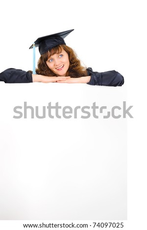 Happy graduate student with banner - stock photo