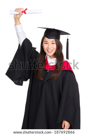 Happy Graduate woman holding certificate