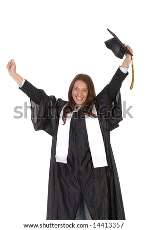 happy graduation a young woman on white background - stock photo