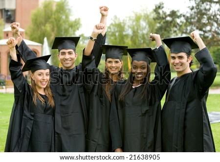 happy graduation student full of success outdoors - stock photo