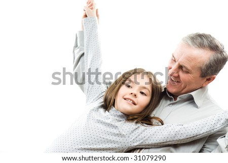 Happy grandfather and granddaughter - stock photo