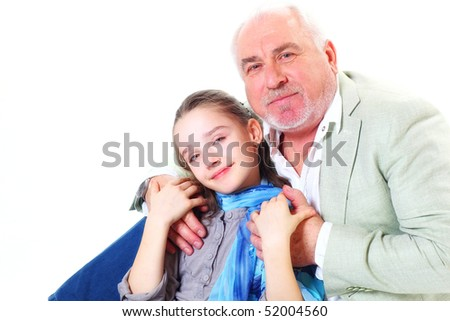 happy grandfather hagging little girl closeup on white background