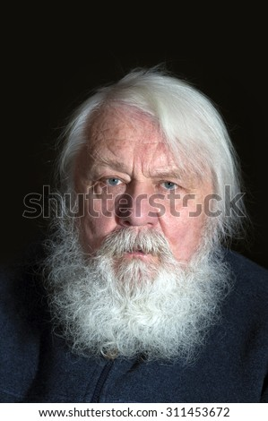 Happy Grandfather, Senior with beard and white hair, old man - stock photo