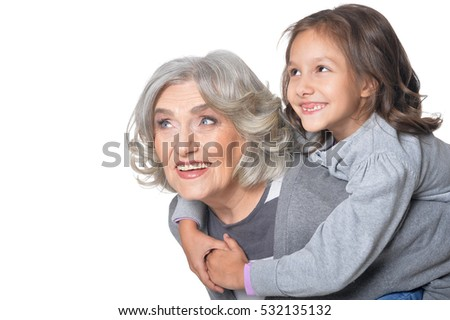 Happy grandmother and granddaughter
