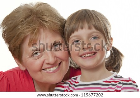 happy grandmother and granddaughter isolated - stock photo