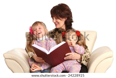 Happy grandmother and two granddaughter. Isolated. - stock photo