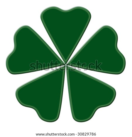 Happy green clover with five leaves - stock photo
