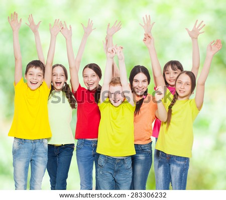 Happy group children at summer. Smiling teen. Friendship boys and girls - stock photo