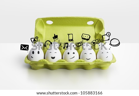 Happy group eggs smileys, concept of social network - stock photo